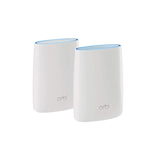 Netgear Orbi High Performance AC3000 Tri-band Whole Home Mesh WiFi System with 3Gbps Speed (RBK50, Router and Extender Replacement Covers Upto 5000 sq.ft. White) - 2 Pack with 1 Router and 1 Satellite