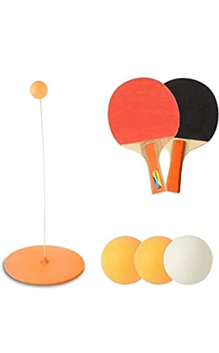 SPORTEC Ping Pong Trainer Table Tennis Training Elastic Soft Shaft Trainer Ping Pong Balls Paddles Set Practice Ball Sports for Child and Adult Indoor Outdoor Play