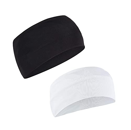 Adhvik Combo of Premium Black and White Color Wide Moisture Wicking and Non-Slip Men's and Women's Sport Athletic Running/Fitness/Yoga/Workout/Gym Head Band