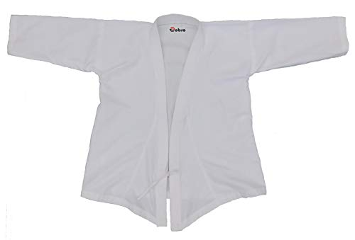 Zobro Karate Dress Size 22 to 44 for Unisex Children Karate Uniform in Practice and Tournament,Judo, Kickboxing, Sparring Training Dress Set, Muay Thai, Fighting Costume for Both Men and Women Uniform White Top Pant Belt Set(44)