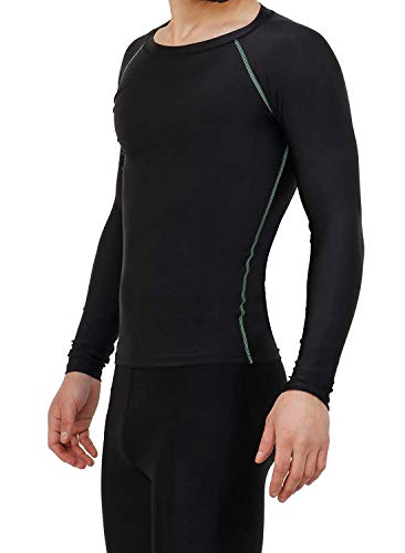 NEVER LOSE Compression Top Full Sleeve Tights Plain for Gym, Running, Cycling, Swimming, Cricket, Basketball, Yoga, Football, Tennis, Badminton (Small) Black