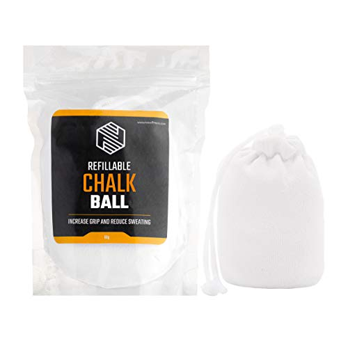 Chalk Ball (Refillable) - Sports Chalk - Superior Grip and Sweat-Free Hands for Weightlifting, Rock Climbing, Bouldering, Gymnastics, Pole Dancing and Fitness, Crossfit and Bodybuilding (1 x Ball)