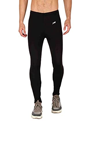 JUST RIDER Men's Compression Pants Tights Camo, Skins Legging, Base Layer for Gym, Running, Cycling, Cricket, Basketball, Yoga, Football, Tennis, Badminton and More (Black, Large)
