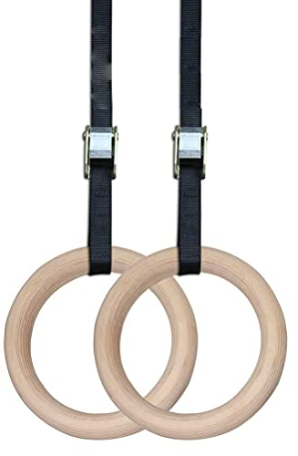 Shopoflux® Gymnastic Wooden Rings with Heavy Duty Adjustable Strap | Roman Rings Perfect for Calisthenics Competition and Conditioning Training