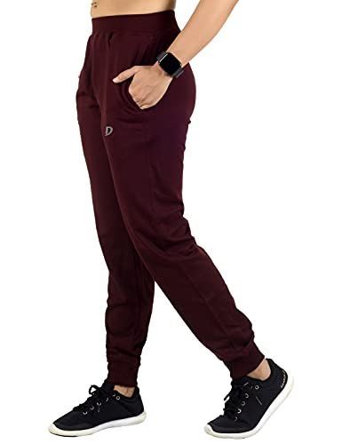 DECISIVE Fitness Clothing Women's Slim Fit Joggers Trackpants Maroon M