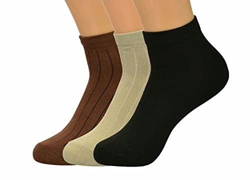 MPOLO Men's Sport Socks Combo For Gym, Running, Cycling, Trekking Comfortable Moja Odour Free Sweatfree Pure Cotton Ankle Length 3 Pair Socks For Boys Special For Winter (3 Pair, Black, Brown, Stone)