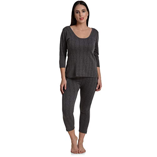 Fashiol Thermal Underwear Set Long with Fleece Lined Ultra Soft Full Sleeves Top & Bottom Base Layer Bigger/Plus Size Thermals for Women/Men Grey(42 and 44) (44)