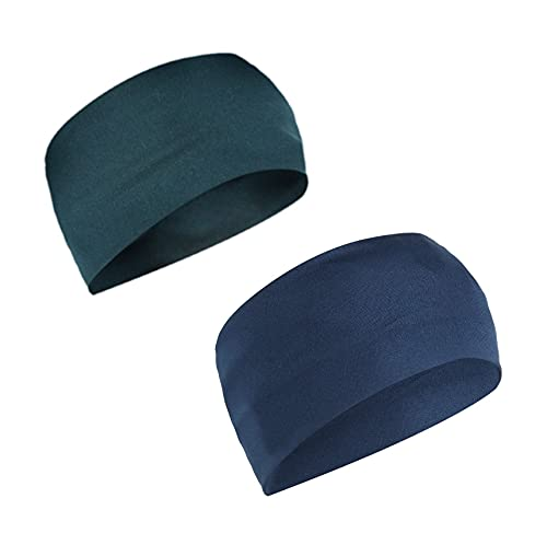 De-Ultimate Combo of Premium Peacock Blue and Navy Blue Color Wide Moisture Wicking and Non-Slip Men's and Women's Athletic Running/Fitness/Yoga/Workout/Gym Head Band