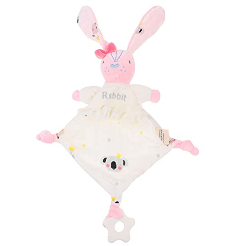 Toyvian Baby Security Blanket Stuffed Plush Cuddle Newborn Blankie with Lovely Bunny Animal Pattern Baby Towel Soothing Toy with Teether for Infants Newborns Toddlers Gift