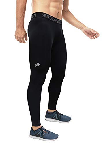 ReDesign Apparels Men's Nylon Athletic Fit Compression Pants for Gym, Running, Swimming and Sports (Large, Black)