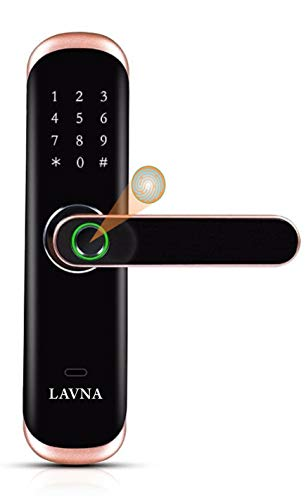 LAVNA Smart Digital Lock L-A28 with Bluetooth Mobile App, Fingerprint, PIN, OTP, RFID Card and Manual Key Access for Wooden and Metal Doors (Gold)