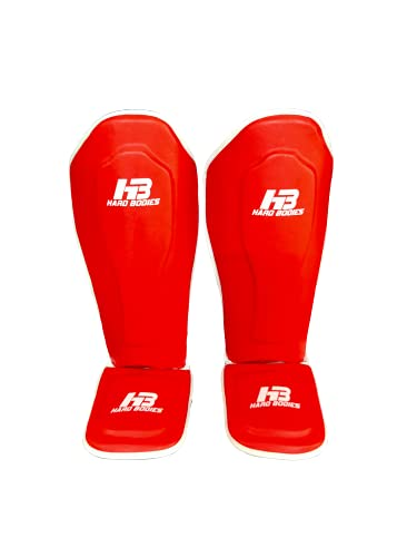 HB Hard Bodies Strike Shin Guards for Muay Thai, Kickboxing, MMA Training and Fighting, Maya Hide Leather Instep Leg Protector Foam Pads for Martial Arts, Sparring, Protective Gear. (Red, Medium)
