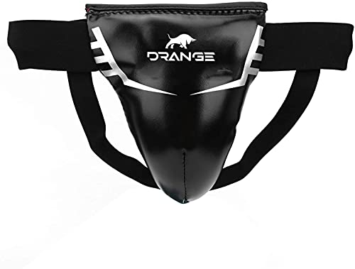 Drange Groin Guard for Boxing, Muay Thai, Kickboxing and MMA Fighting, Maya Hide Leather Abdo Gear for Martial Arts Training, Men Jockstrap Abdominal Protector for Sparring, Taekwondo (S)
