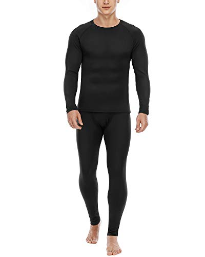 Roadbox Thermal Underwear for Men Microfleece Lined Long Johns Top and Bottom Thermals Men's Warm Base Layers Set for Winter Skiing Running Black