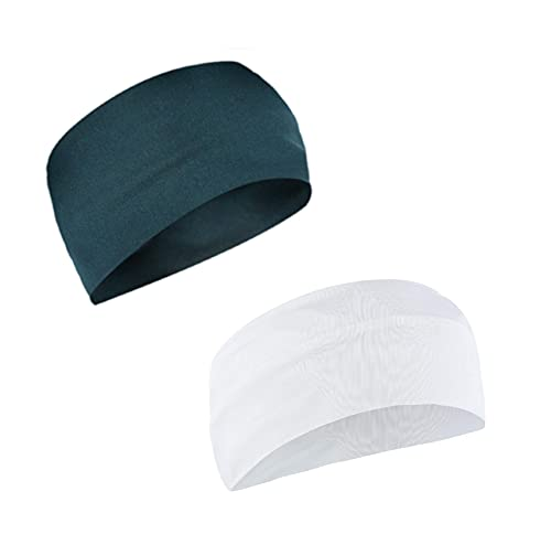 Adhvik Combo of Premium Peacock Blue and White Color Wide Moisture Wicking and Non-Slip Men's and Women's Sport Athletic Running/Fitness/Yoga/Workout/Gym Head Band