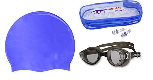 Fully Perfect Combo of Swimming Cap with Goggles for Men and Women Scuba Diving and Water Pool Swimming Accessories 50 Gram Pack of 1