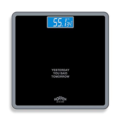 Hoffen Digital Electronic LCD Personal Body Fitness Weighing Scale (Black)