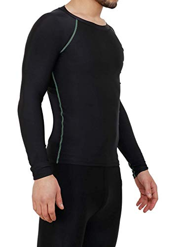 NEVER LOSE Compression Swimming t Shirt Full Sleevs for Men (XX-Large) Black
