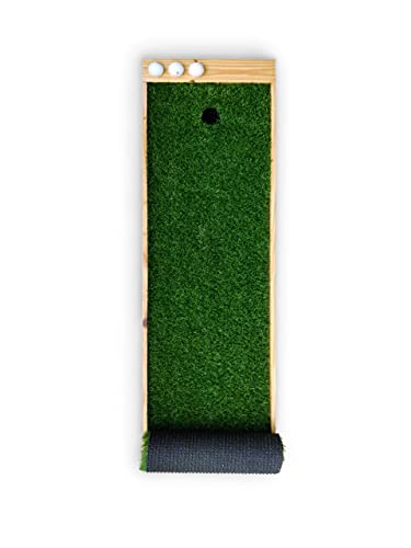The Urban Golfer Indoor Pine Mini Golf Kit (Golf Putting Mat) with 1 X Putter and 3 X Balls for Kids, Men & Women. Made in India- Multicolour