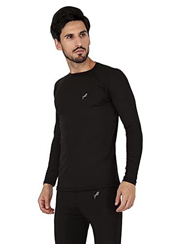 JUST RIDER Compression Lycra Top T-Shirt Full Sleeve Tights Skins for Gym, Running, Cycling, Cricket, Yoga, Football, Tennis, and More (XL) Black