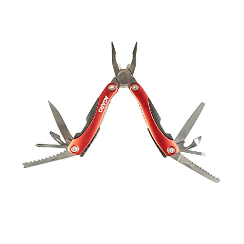 AGARO 12-in-1 Metal and Plastic Tool Plier with Plastic Handle, Red