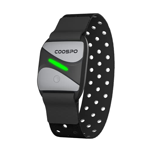 CooSpo Heart Rate Monitor Armband Bluetooth4.0 & ANT+,Optical Armband Heart Rate Sensor with LED Tracking HR Zone HRV, IP67 HR Monitor for Peloton Zwift Polar DDP Yoga Bike Computer Sport Watches