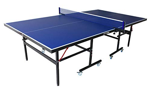 Dolphy Table Tennis Table Top , Thickness 15 Mm with Net Set with Wheel (Blue and Black)