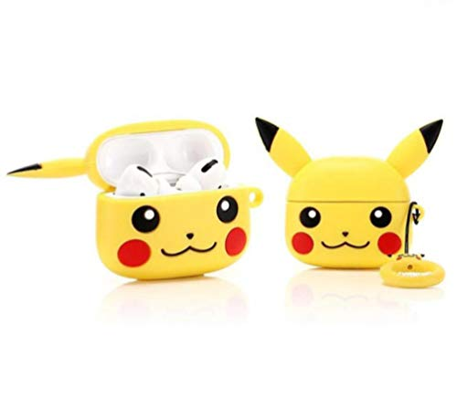 Meyaar Silicone Fit Back Cover Case [Pikachu] Designed for AirPods Pro Case (2019) - Yellow-Pikachu