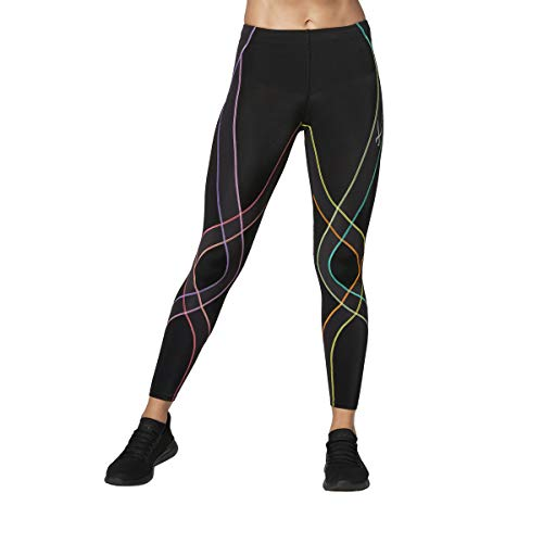 CW-X Women's Endurance Generator Joint and Muscle Support Compression Tight, Black/Pastel Rainbow, X-Small