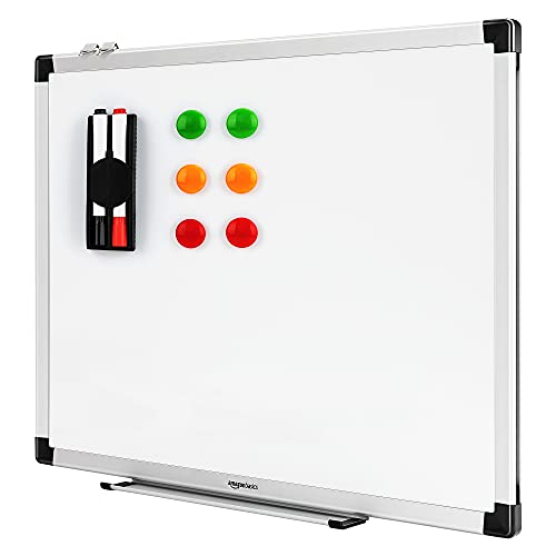 AmazonBasics Whiteboard Drywipe Magnetic with Pen Tray and Aluminium Trim,Includes 6 magnets, 1 eraser, and 2 dry-erase markers, 1.96 ft x 1.47 ft (WxH)
