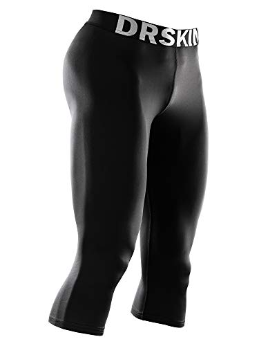 """DRSKIN Men'""""s 3/4 Compression Tight Pants Base Under Layer Running Shorts Warm Cool Dry (Classic B801, S)"""
