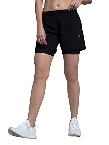 CULTSPORT Women's Polyester Workout Regular Fit Shorts with Inner Tights (Black) (M) (CS600626M)