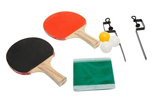 arnav Wooden Table Tennis Set with Two Table Tennis Bat Net, Clamps and Three Balls Kit