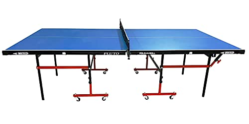 METCO Pluto Indoor Table Tennis Table with Laminated 18 mm top 50mm Wheels with Quick Clamp Ping Pong Net and Post Set - 20 Minute Easy Assembly - Ping Pong Table with Single Player Playback Mode