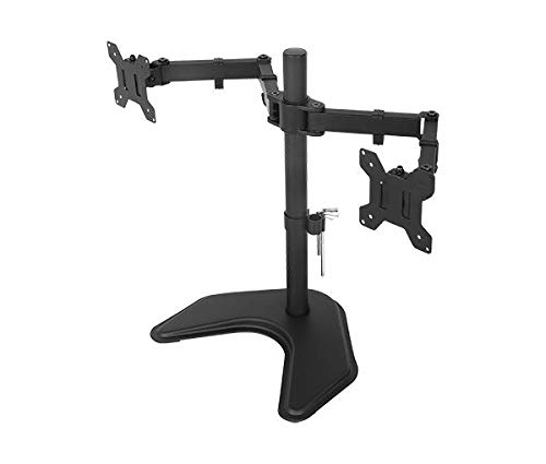 Rife Dual Standing Height Adjustable 2 Arm Monitor Mount for 2, 13-32 inch LCD Screens with Swivel and Tilt