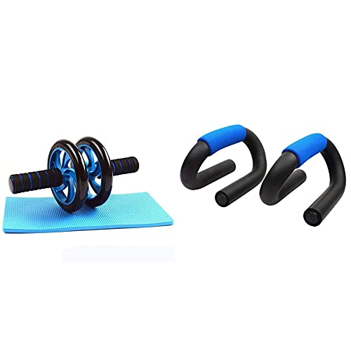 Strauss Double Wheel Ab Exerciser with Knee Pad+Strauss Power Push up Bar, (Black/Blue)