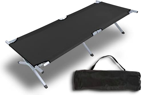 I.P.L. Heavy Duty Lightweight Folding Camping Cot Bed, Foldable Portable Sleeping Cot for Adult, Patio, Beach, Hiking, Camping, Travel, Office Nap, Outdoor, Indoor (Folding Camping Cot)