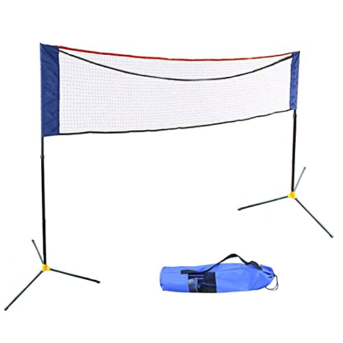 Hi Suyi Portable Height Adujstable Badminton Volleyball Tennis Net Set Equipment with Poles Stand and Carry Bag 3M/5M for Kids Adult Outdoor Sports