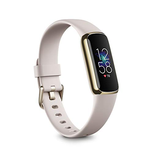 Fitbit Luxe Fitness and Wellness Tracker with Stress Management, Sleep Tracking and 24/7 Heart Rate, One Size S L Bands Included, Lunar White/Soft Gold Stainless Steel