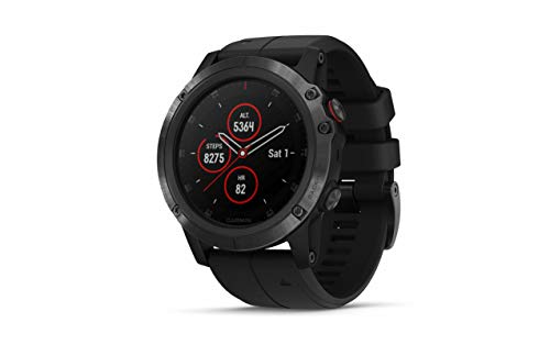 Garmin Fenix 5X Plus, Ultimate Multisport GPS Smartwatch, Features Pulse Ox, Heart Rate Monitoring, Music and Contactless Payment, Black with Black Band