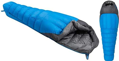 zvr Platinum Series Ultra Warm Duck Down Feather with Extra Cushioning Mummy Shaped Sleeping Bag (0°C to -15°C, Blue)