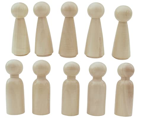 Gift Equals Love Wooden Peg Doll (Big 8.5 cm) Natural Handcrafted People Bodies Angel Dolls for DIY Craft 10 Pcs (5 Male & 5 Female) with a Storage Bag (Natural 10 Pcs)