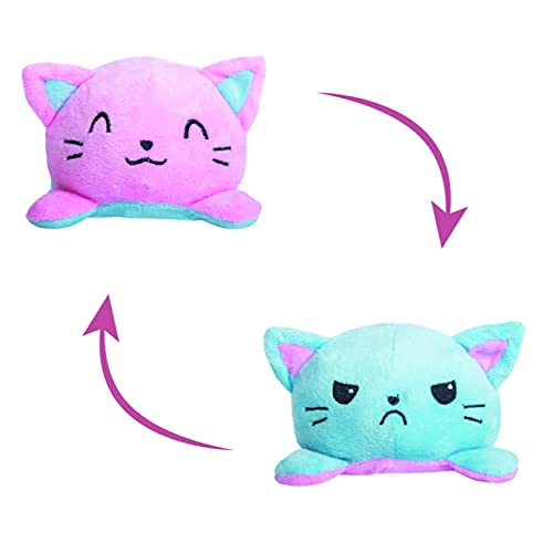Touchy Toy Reversible Cat Mini Plush - Stuffed Animal Toy | Show Your Mood Without Saying a Word(SkyBlue-Pink)