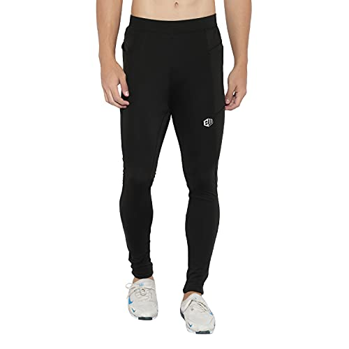 ENDEAVOUR WEAR Tight Pant Black Polyester Gym Workout Compression Tights for Men (Medium)