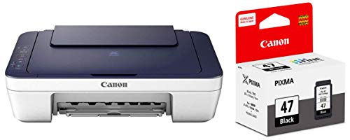 Canon PIXMA E477 All-in-One Wireless Ink Efficient Colour Printer (White/Blue) with PG-47 Ink Cartridge (Black)