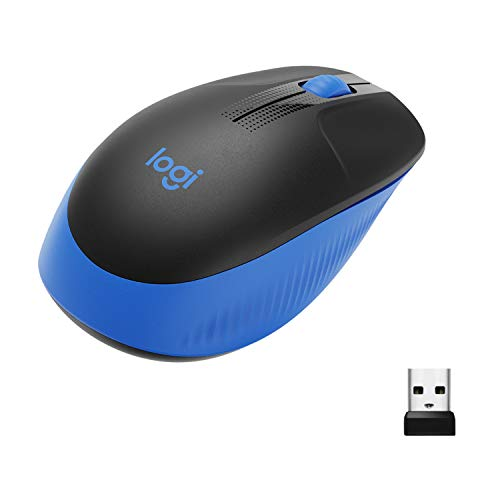 Logitech M190 Wireless Mouse ,Full Size Ambidextrous Curve Design, 18-Month Battery with Power Saving Mode, USB Receiver, Precise Cursor Control + Scrolling, Wide Scroll Wheel, Scooped Buttons -Blue