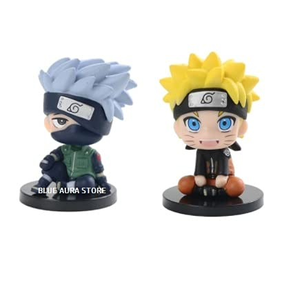 Blue Aura Naruto Kakashi PVC Multicolor Action Figure Pack of 2 Height 8 cm   Assembly Required   (Naruto Smiling / Kakashi Open Eye)