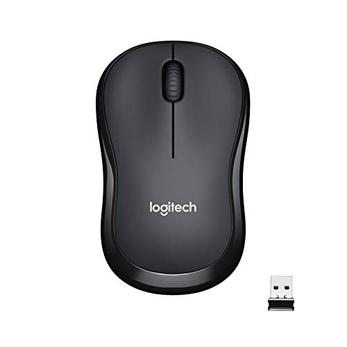 Logitech M221 Wireless Mouse, Silent Buttons, 2.4 GHz with USB Mini Receiver, 1000 DPI Optical Tracking, 18-Month Battery Life, Ambidextrous PC/Mac/Laptop - Charcoal Grey