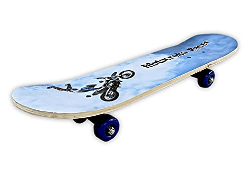 BELEEV Skateboards, 31 Inch Complete Skateboard for Kids Teens Adults, 7 Layer Canadian Maple Double Kick Deck Concave Cruiser Trick Skateboard (Sky Blue)