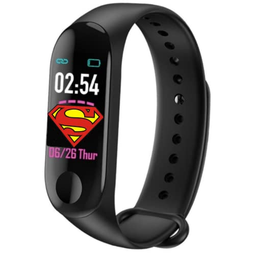 Suprico (Great Indian Offer With: 7 Years Warranty ) Men Women M3H Waterproof Smart Band Fitness Tracker Watch with Heart Rate, Activity Tracker Body Functions Like Steps Counter, Calorie Counter, Heart Rate Monitor LED Touchscreen (Black)